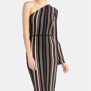 Rachel Roy One Shoulder Striped Dress Bell Sleeve